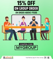 Order Now With RailRestro & Get Up To 15% Off On Group Food.